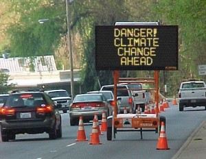 climate change road sign